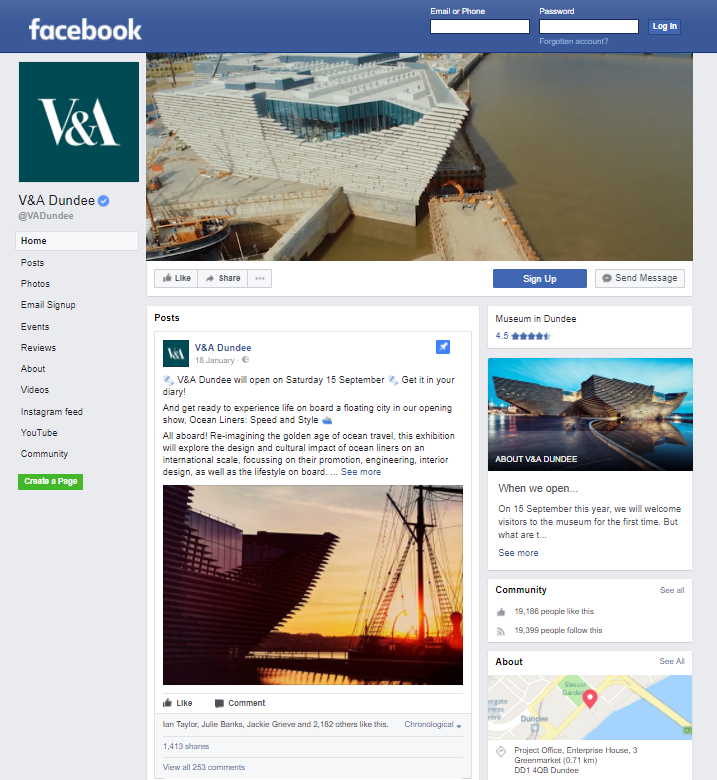V&A Dundee's facebook page showing post about the opening of the museum, with photo of the building at sunset