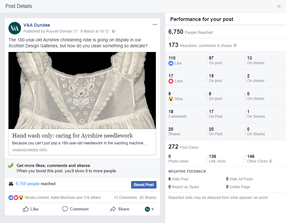details about a facebook post with image of white dress and headline Hand wash only: Caring for Ayrshire needlework, showing number of post likes, reactions, comments and shares