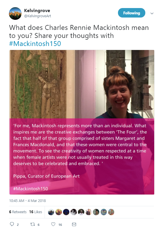 tweet from Kelvingrove sharing image of woman with text overlaid explaining how she feels about Charles Rennie Mackintosh . Tweet reads What does Charles Rennie Mackintosh mean to you? Share your thoughts with #Mackintosh150