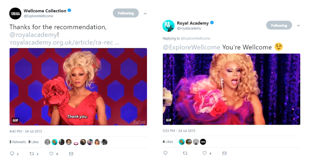 twitter exchange between the Wellcome Collection and Royal Academy, both sharing gifs of RuPaul