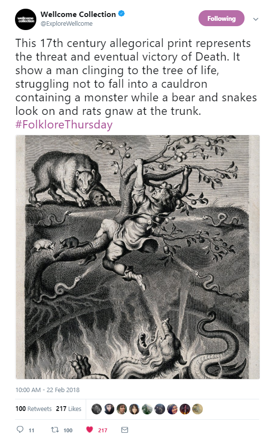 tweet by Wellcome Collection showing print. Tweet reads: This 17th century allegorical print represents the threat and eventual victory of Death. It show a man clinging to the tree of life, struggling not to fall into a cauldron containing a monster while a bear and snakes look on and rats gnaw at the trunk. #FolkloreThursday