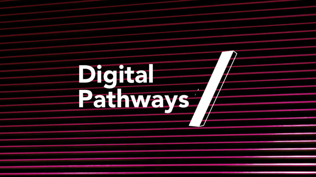 Logo that reads Digital Pathways on a black and pink striped background