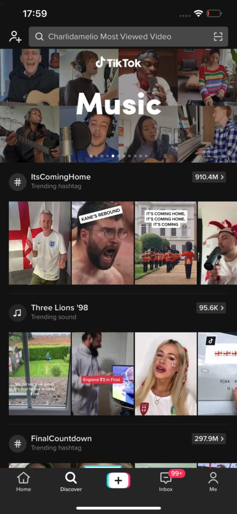 An image of TikTok's discover page, with a look at the user interface including a number of videos uploaded or shared by users